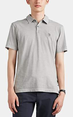 James Perse Men's Embroidered Sueded Cotton Polo Shirt - Gray