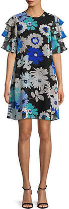 Calvin Klein Three-Tier Sleeve Printed Shift Trapeze Dress