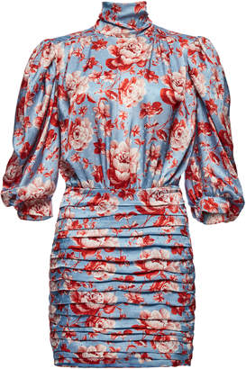 Magda Butrym Setubal Ruched Floral-Print Silk-Satin Mini Dress
