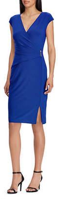 Lauren Ralph Lauren Wrap Front Cap-Sleeve Dress