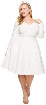 Unique Vintage Plus Size Long Sleeve Maude Swing Dress Women's Dress
