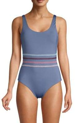 Dolce Vita One-Piece Multicolored Stitched Swimsuit