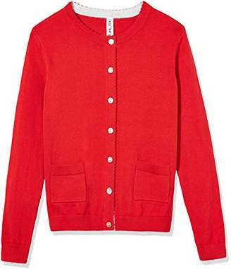 Kid Nation Girls' Long Sleeve Cardigan Sweater Classic with Pocket XS