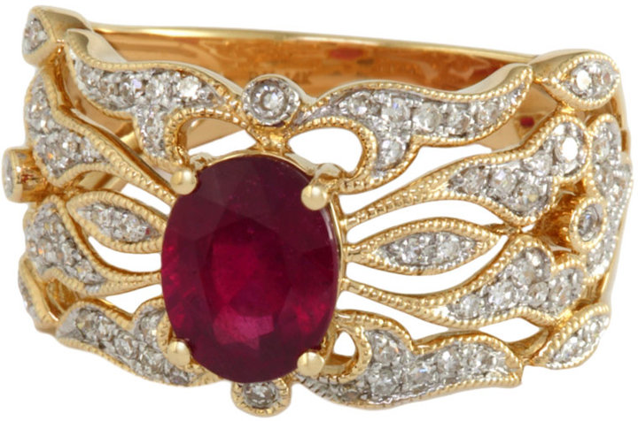 EFFY COLLECTION Ruby and Diamond Ring in 14 Kt. Yellow Gold
