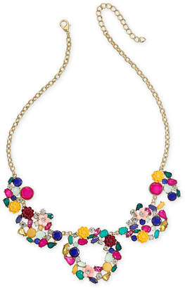 """INC International Concepts I.N.C. Gold-Tone Flower Motif Statement Necklace, 18"""" + 3"""" extender, Created for Macy's"""