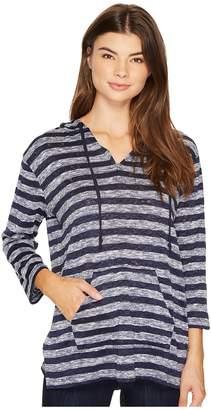 Vince Camuto 3/4 Sleeve Uneven Stripe Split Hoodie Women's Sweatshirt