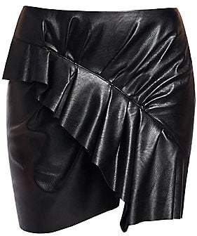 Etoile Isabel Marant Women's Zeist Ruffle Faux-Leather Mini Skirt