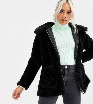 New Look Petite borg teddy pocket detail jacket in black