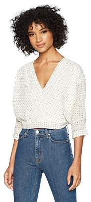 Lucca Couture Women's Nicole Surplice Top w/Pintuck SLV Detail