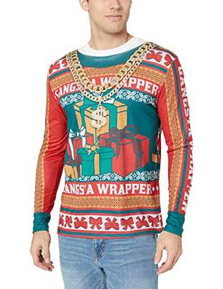 Faux Real Men's Sublimated Ugly Xmas Sweater Long Sleeve T-Shirt