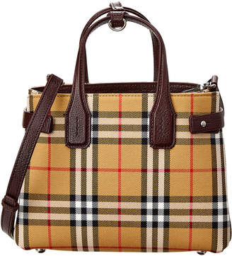Burberry Small Banner Vintage Check & Leather Tote