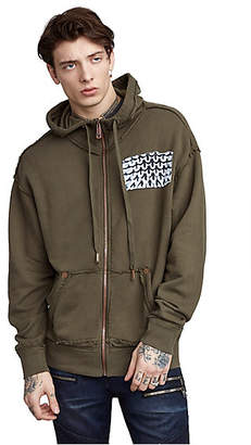 True Religion MENS RAW EDGE 3D GRAPHIC ZIP UP HOODIE