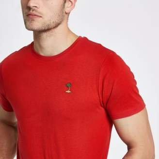 River Island Only and Sons orange palm embroidered T-shirt