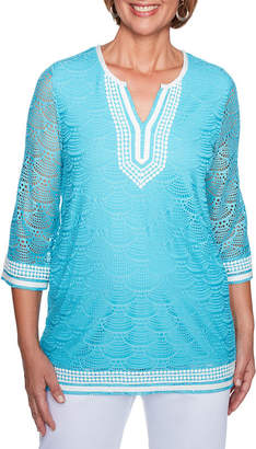 Alfred Dunner Turks And Caicos Embroidered Neck Crochet Tunic