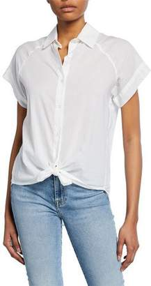 7 For All Mankind Button-Down Cap-Sleeve Tie-Front Shirt