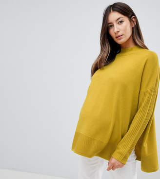 Asos Nursing DESIGN Maternity Nursing eco boxy sweater with ripple hem