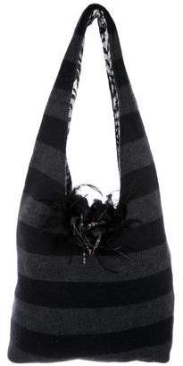Alice + Olivia Embellished Knit Hobo