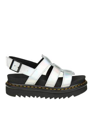 Dr. Martens Yelena Sandal In Silver Laminated Leather