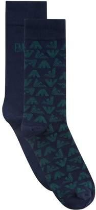 Emporio Armani Stretch Cotton Logo Socks (Pack of 2)