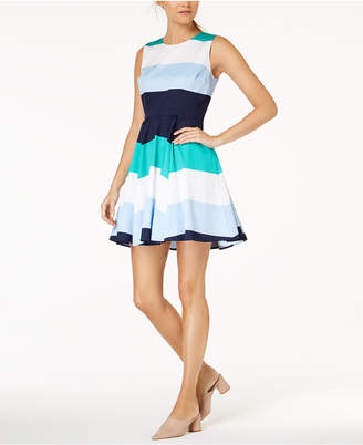 Maison Jules Colorblocked Fit & Flare Dress