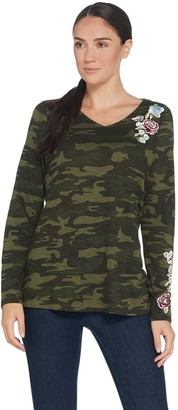 Belle By Kim Gravel Belle by Kim Gravel Embroidered Floral Camo Long Sleeve Top