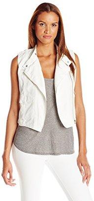 Calvin Klein Jeans Women's Solid Cotton Moto Vest $98 thestylecure.com