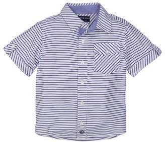 Andy & Evan Short-Sleeve Striped Collared Shirt, Size 2-7