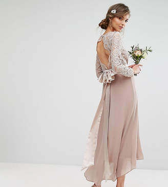 TFNC Tall Tall Lace Midi Bridesmaid Dress With Bow Back