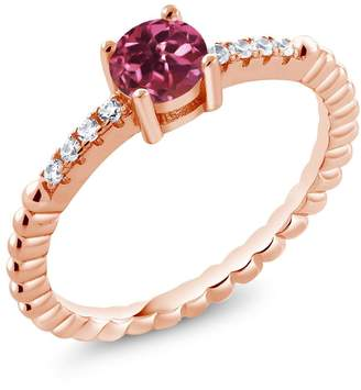Swarovski Gem Stone King 0.58Ct Pink Tourmaline White Zirconia 18K Rose Gold Plated Silver Ring