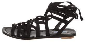 Prada Suede Cage Flat Sandals