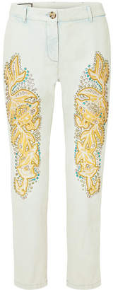 Gucci Embellished Appliquéd Mid-rise Straight-leg Jeans - Light denim