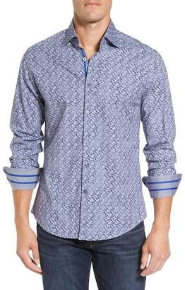 Stone Rose Triangle Print Slim Fit Sport Shirt