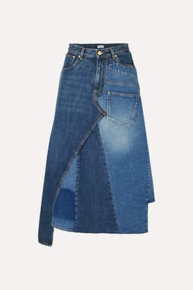 Loewe Asymmetric Patchwork Denim Midi Skirt - Indigo