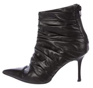 Manolo Blahnik Ruched Leather Boots Black Ruched Leather Boots