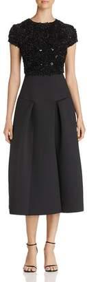 Emporio Armani Sequined & Appliquéd Bodice Midi Dress