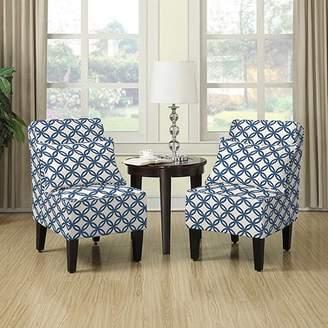 Handy Living Dani Armless Accent Chair, Set of 2, Honeycomb Navy Blue
