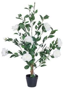 Rose Tree Homescapes Cream Artificial In Black Pot