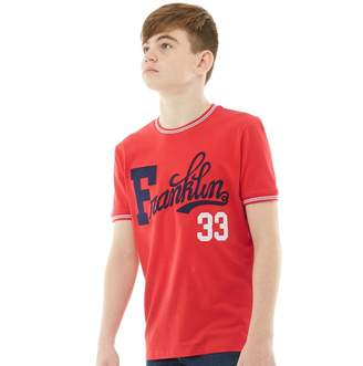 Franklin & Marshall Junior Boys Retro T-Shirt Letterbox Red