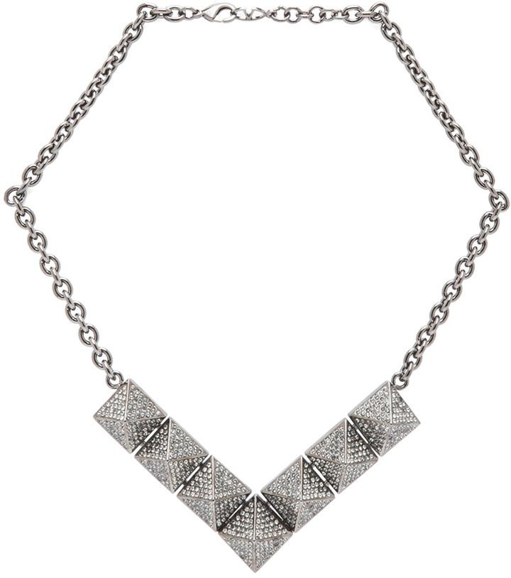 Valentino Large Single Threaded Black Pyramid Necklace in Ruthenium & Black Diamond