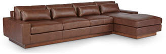 One Kings Lane Dunn Right-Facing Sectional - Cocoa Leather
