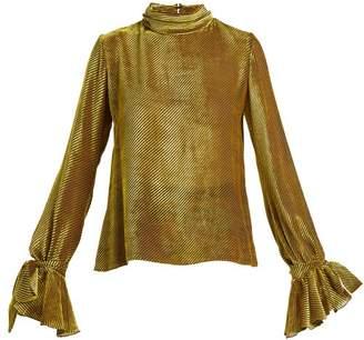 Mary Katrantzou Freda Velvet Devore Blouse - Womens - Black Gold