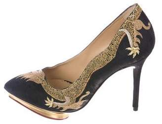 Charlotte Olympia Embroidered Pointed-Toe Pumps