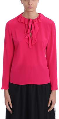 RED Valentino Pink Silk Rouches Blouse