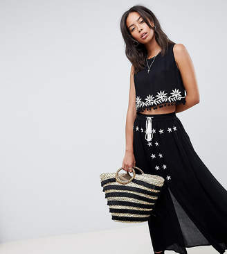 Glamorous Tall Embroidered Skirt With Tassle Ties Two-Piece