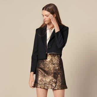 Sandro Wrapover Effect Brocade Skirt