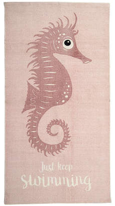 Harriet Bee Lincoln Cotton Seahorse Rose Kids Rug