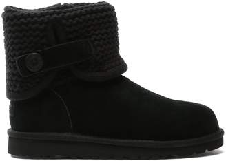 UGG Kid's Darrah Black Suede Knitted Cuff Ankle Boot