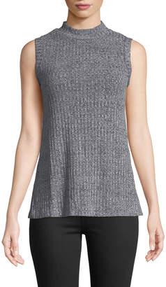 Bobeau Elena Mock-Neck Sleeveless Sweater