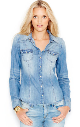 GUESS Slim-Fit Denim Shirt $79 thestylecure.com