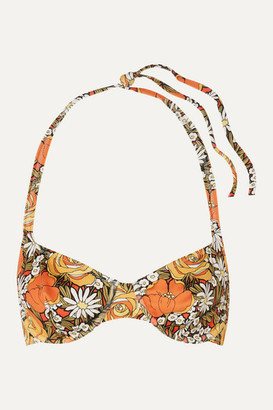 Solid & Striped Re/done Floral-print Underwired Halterneck Bikini Top - Orange